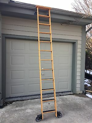 "Cotterman Oak Library Ladder Cast Iron Hardware 10' Ft 16"" Wide"