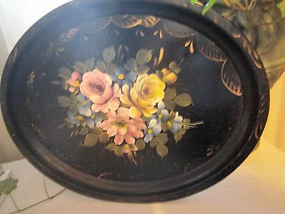 ~Lovely Vintage Antique Tole Roses Floral Hand Painted Tray! Cottage Chic!