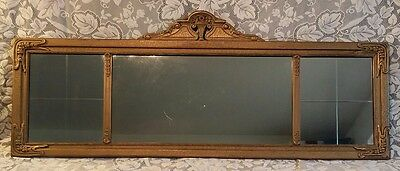 Vtg Antique Art Nouveau Style 3 Panel Gold Wood Framed Buffet Mantle Wall Mirror