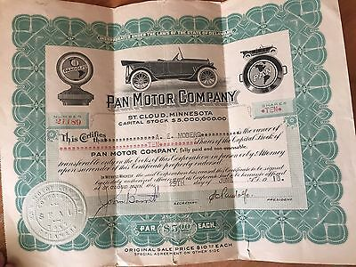 1918 Car Stock Certificate: Pan Motor Co. St. Cloud, MN