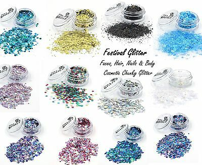 FESTIVAL CHUNKY COSMETIC GLITTER for Festival Faces, Bodies, Hair and Nails
