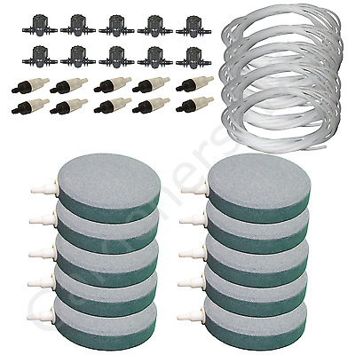 "4"" 10cm AIR STONE KIT 10x DIFFUSER +VALVES +NON RETURN 50m PIPE hydroponic pond"