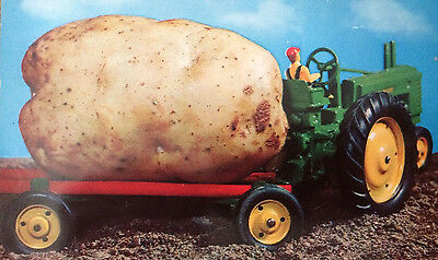 1957 John Deere Tractor pulling A Maine Potato Post Card Posted Chicago