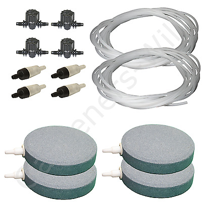 "4"" 10cm AIR STONE KIT 4x DIFFUSER +VALVES +NON RETURN +20m PIPE hydroponic pond"