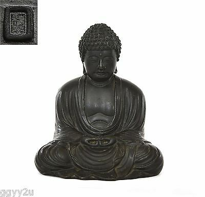 Old Japanese Bronze Seated Amida Buddha Marked 1674 Gram