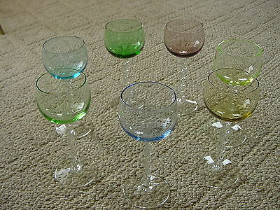 Vintage Antique Colored Glass Stemware, Aperitif, Cordial, Small Wine - Set of 7