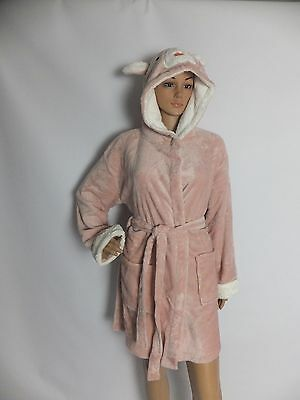 New Ladies Dressing Gown Super Soft Robe  Animal Hooded Pink/White S M L Xl