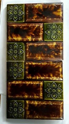 "2 Antique Vintage Majolica Pottery Pilkington  Tiles 6""x6"" Stamped England"