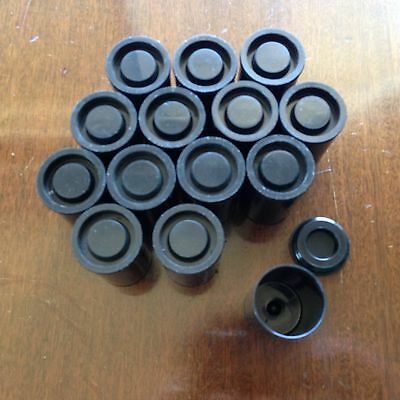 Lot of 14 - Black Plastic Film Canisters, 35mm Size