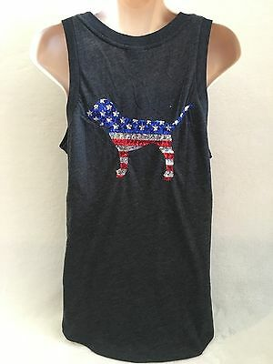 VICTORIA'S SECRET PINK Muscle TANK 2016 4th Of JULY PATRIOT SCRIPT IN SEQUINS