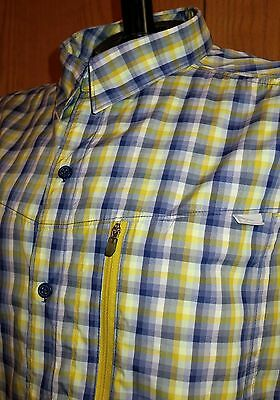Columbia Omni Shade Vented Hiking Outdoors S/S Shirt Blue Plaid Size XXL 2XL