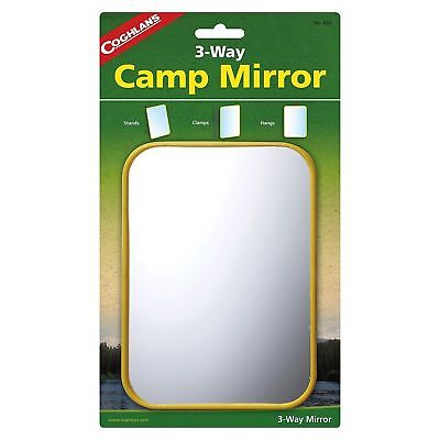 Coghlan's 3-Way Camp Mirror Sturdy Colorful Plastic Frame Stands Clamps Hangs