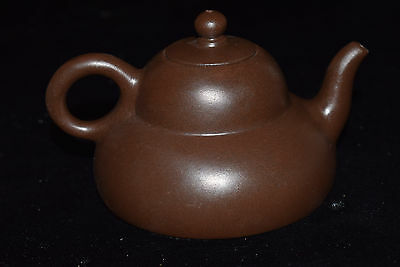 Old Chinese Yixing Sand-fired (ZiSha)Handwork Carved Leaf Teapot&Lid