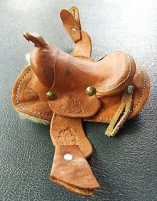 "VTG Miniature Leather Horse Saddle Sales Sample 4"" X 3 "" Hand Crafted Western"