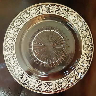 """Antique 10"""" Round Glass Plate With Silver Overlay Floral Design"""