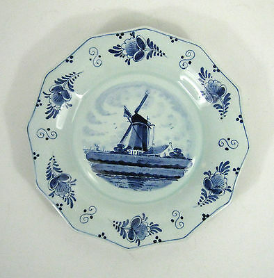 Delft Schoonhoven Holland Blue Wind Mill 12 Sided Plate Polygon HC E.D. Delfts