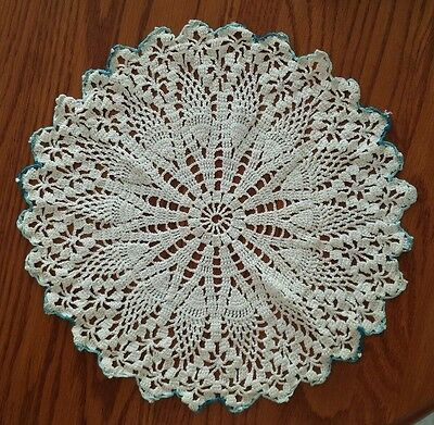 Vintage Hand Crochet Doilie Doily White with Blue Edging