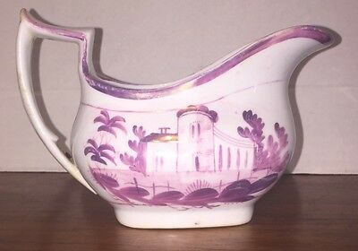 Antique English Staffordshire Pink Luster Porcelain Cream Pitcher  Scenic Castle