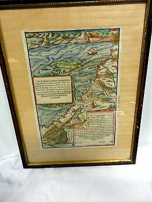 Antique Woodcut Sebastian Munster 1572 Middle East Mediterranean Sea German Map