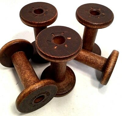 Vintage Wooden Silk Spools Bobbin Smooth Wood Quill Industrial Textile Mill