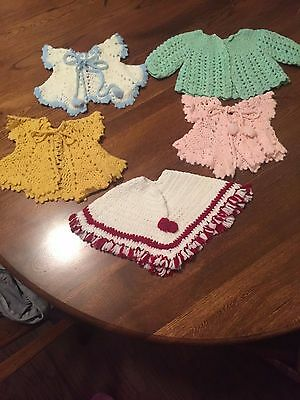 Vintage Lot of (5)  Doll Hand Knit Crocheted Sweaters
