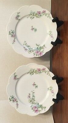 """Pair Of Haviland Limoges 8 1/2"""" Plates Scalloped Beaded Pink Hibiscus? Excellent"""