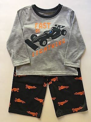 NWOT Carter's Toddler Boy Two Piece Cotton Pajamas Size 24 Months Gray Race Cars