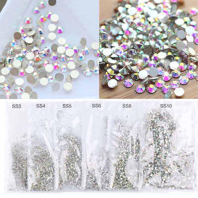 1440pcs 3D flat Back Nail Art Rhinestones Glitter Crystal Gems Tips DIY Decor