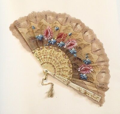 Vintage Ladies Hand Fan - Hand Painted Lace Floral Folding w/ Tassel - Flowers