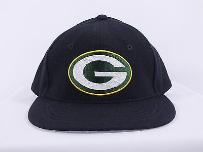 Green Bay Packers Nfl 7, 7 1/8 Fitted Black Hat Flat Brim Cap H-123