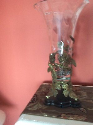 Crystal vase with antique brass