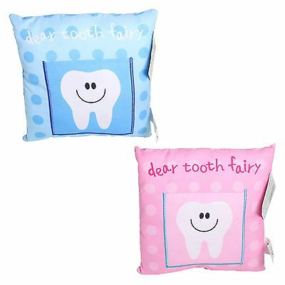 Tooth Fairy Cushion / Pillow with Pocket 20cm x 20cm - Blue OR Pink