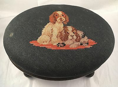 Antique Victorian Spaniel Dogs Needlepoint Walnut Footstool