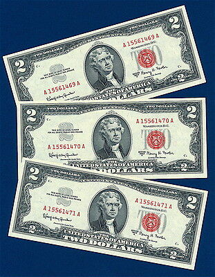 (3) 1963A  $2  Red Seal Legal Tender Uncirculated Notes    Exceptional Quality!
