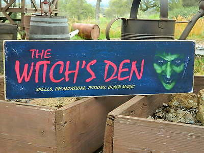 "Distressed Primitive Halloween Country Wood Sign - The Witch's Den  5.5"" x 19"""