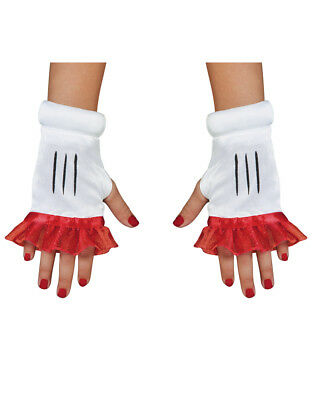 Girls Disney Minnie Mouse White And Red Gloves Costume Accessory