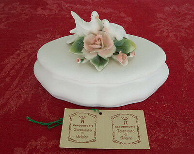 Capidomonte Italy  Porcelain Bisque doves and pink roses box