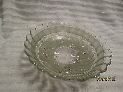 Vintage Footed Glass Candy Dish Hand Painted Green with floral  design.