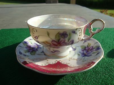 Vintage LEFTON Tea Cup And Saucer- Footed - HP - Floral - Iridescent