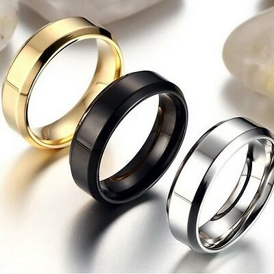 NEW Plain Stainless Steel Men Women Silver Gold Ring Band Biker Jewelry Gift