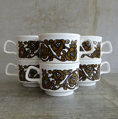 6 Retro Staffordshire Potteries Teacups 250mls England Retro Brown Flowers 1970s