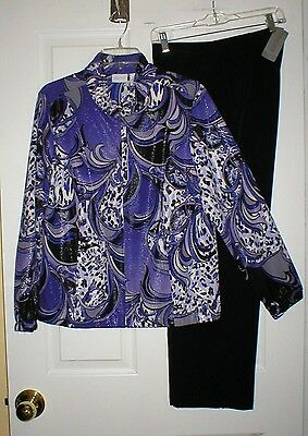 Chico's Zenergy Size 2 & 2 Short Two Piece Outfit, Jacket & Pants, Nwt!
