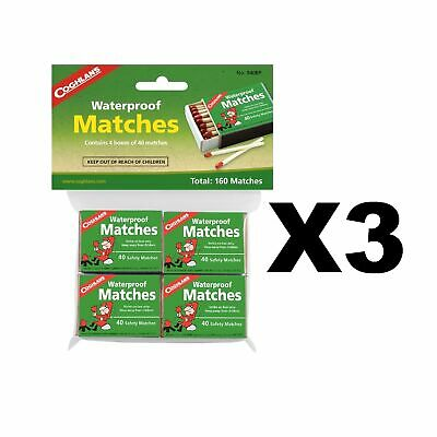Coghlan's Waterproof Matches Wooden Fire Starters (3-Pack of 4 - 40 Count Boxes)