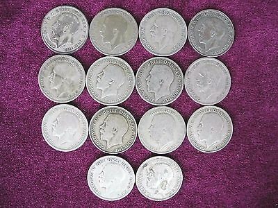 Lot Group of 14 Coins, Silver One Florin (1920 – 1946), Great Britain (2)