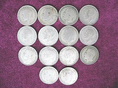 Lot Group  14 Coins, Silver Halfcrown /One Florin (1920 – 1946), Great Britain