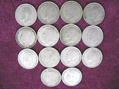 Lot Group of 14 Coins, Silver One Florin (1920 – 1946), Great Britain (1)