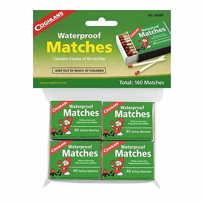 Coghlan's Waterproof Matches 120-Count Wooden Fire Starters 4 Boxes w/Strikers