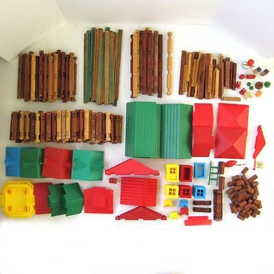 Lincoln Logs Huge Lot Over 900 Pieces Roofs Windows Doors Chimneys American