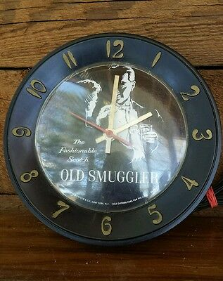 VTG Lux Old Smuggler Electric Wall Clock Scotch Advertising Working Time Piece
