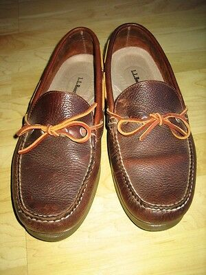 LL Bean Camp Moccasins Slip On Brown Leather Men's Shoes Size 10.5 D